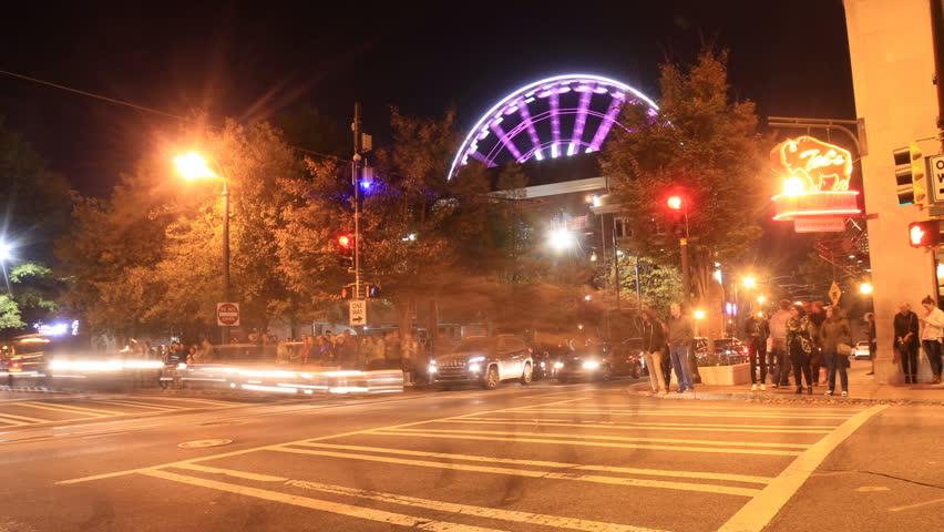 Downtown Atlanta, Georgia nightlife time lapse on 11/9/2016