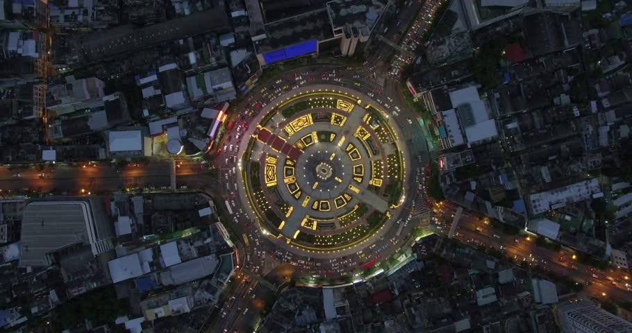 Flying above Huge roundabout, Bangkok, Thailand