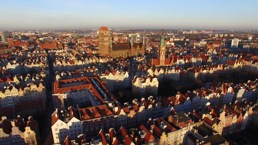 Aerial Gdansk Old Town Skyline With Basilica City Hall And Town Houses | Shutterstock HD Video #22817992