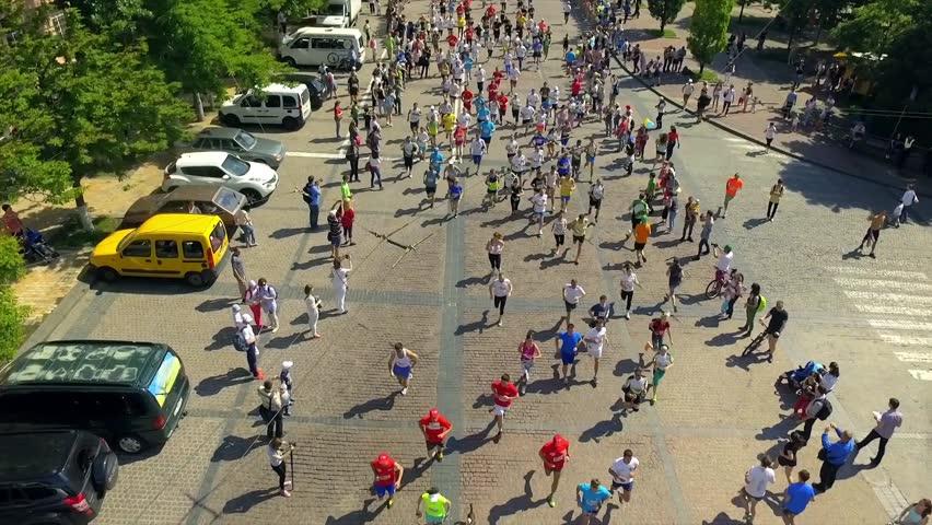 Aerial footage. Marathon on streets.  | Shutterstock HD Video #22843879