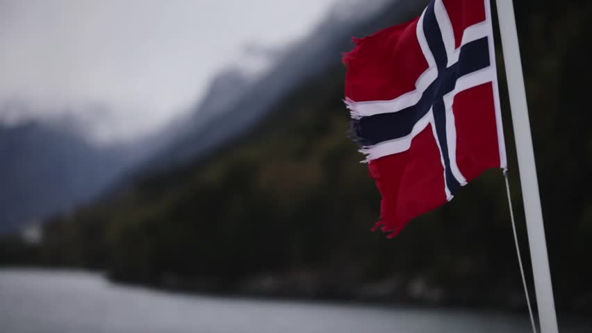 The Fjords, Norway. The right-hand shot focused on the Norwegian flag.