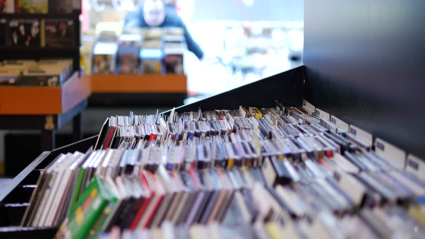 Closeup of browsing records in the vinyl record store