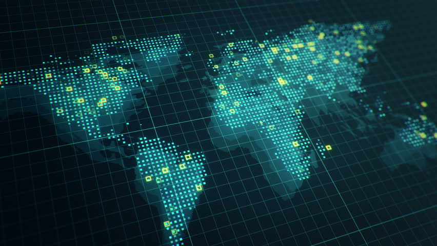 Technological digital globe world stock footage video 16481995 abstract animation of world map in digital screen with colorful dots and lines animation of gumiabroncs Choice Image