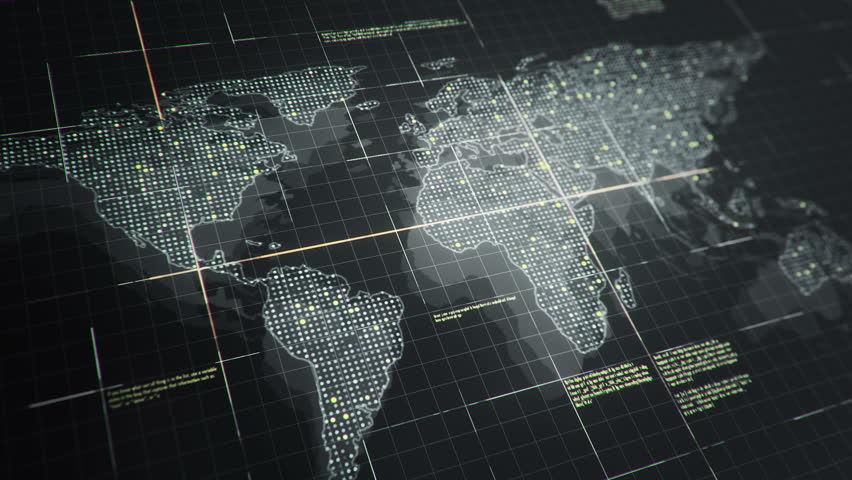 Abstract animation of World map in digital screen with colorful dots and lines. Animation of seamless loop. | Shutterstock HD Video #22911694