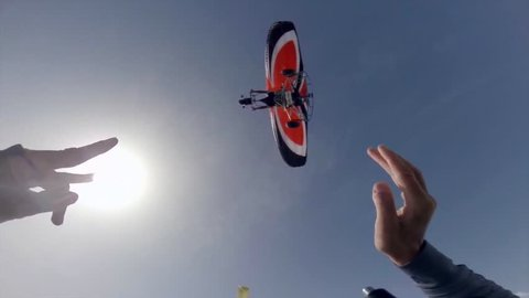 Skydiving, jump from a para-trike, open the parachute. Over the ocean.