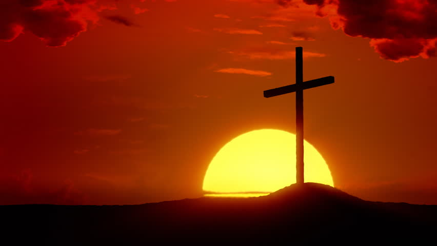 The Risen Christ: Time lapse sunrise behind Calvary Cross | Shutterstock Video #2295626
