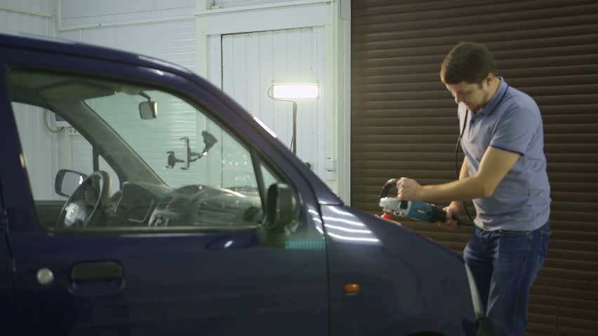 Polishing Blue Car With Reflection The Concept Car Care Stock