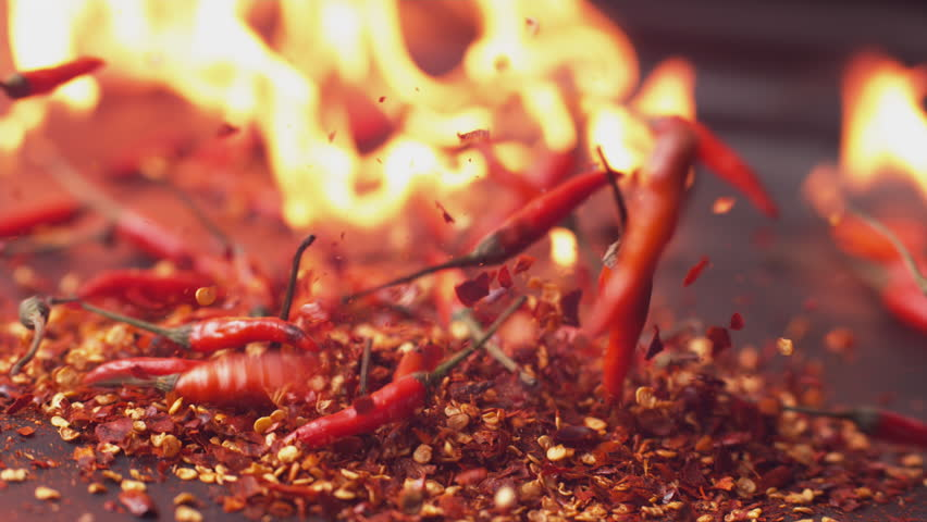 Peppers and flames in super slow motion, shot on Phantom Flex 4K