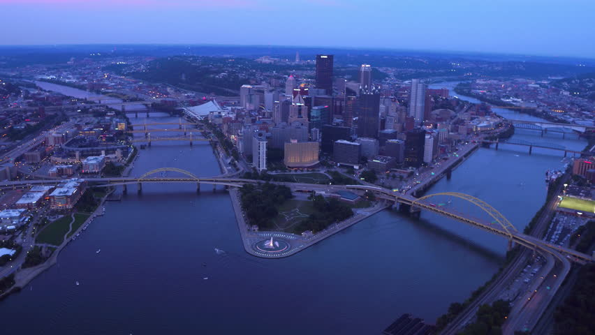 Aerial view of Pittsburgh, Pennsylvania at dusk - 4K stock video clip