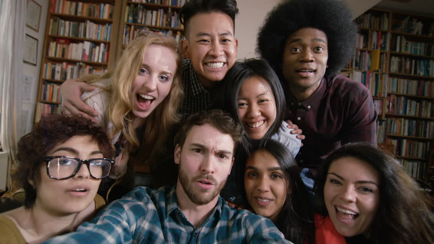 4K Happy student friends in shared accommodation pose for selfie Dec 2016-UK