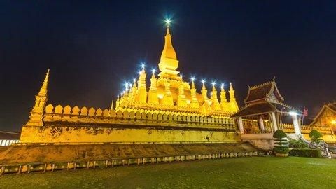 Pha That Luang Vientiane Grate Stupa Landmark Travel Place Of Vientiane, Laos 4k Hyperlapse Day to Night