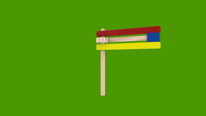 Colorful wooden noisemaker Purim holiday. on green screen Background
