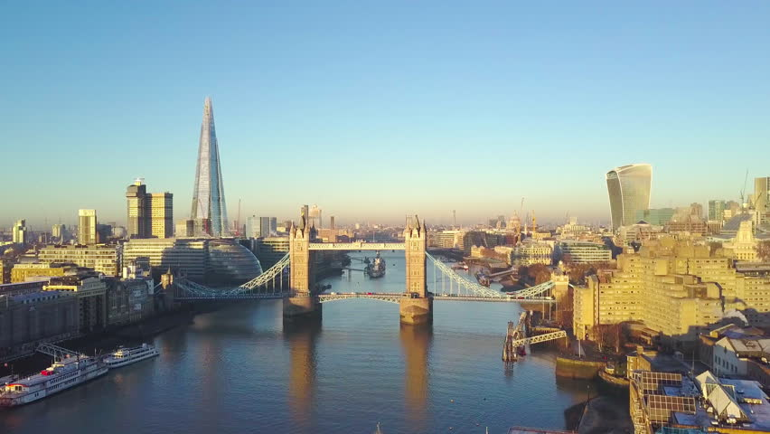 Aerial cityscape view of London and the River Thames, England, United Kingdom - Crane up video | Shutterstock HD Video #23062942