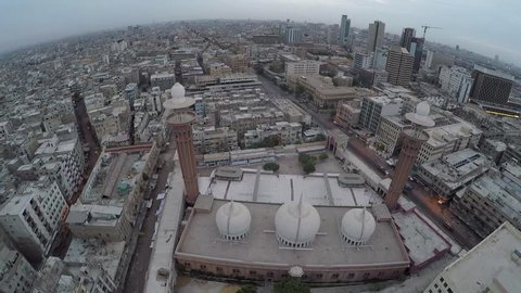 Aerial shot of a mosque in Karachi, Pakistan, Beautiful morning in the city