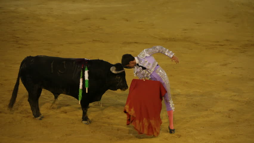 La Linea de la Concepcion, Spain - 19 July 2013: Bullfighter was gored during traditional Spanish bullfighting.