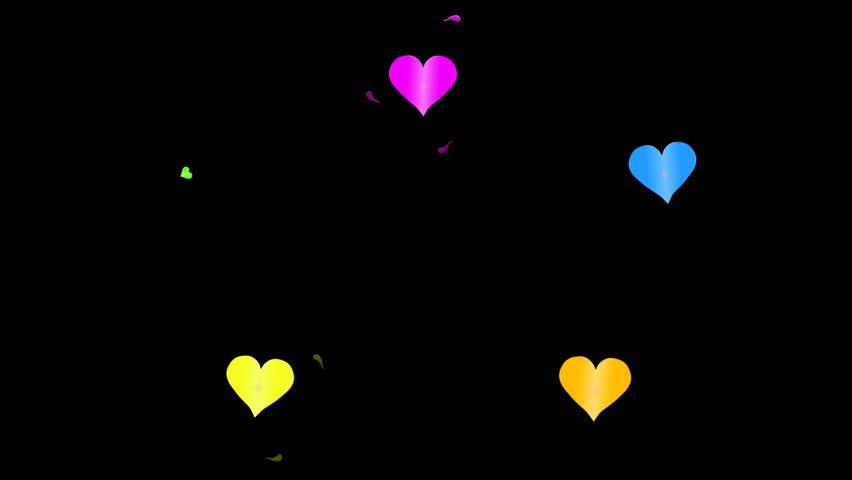 Hearts-Animated-Background-Transparent Cartoon: Animated hearts background for titles & transitions.