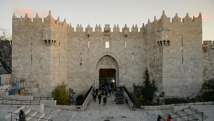 JERUSALEM, ISRAEL - 28th DECEMBER 2016: General view of the Damascus gate in the Jerusalem, Israel.  | Shutterstock HD Video #23162602