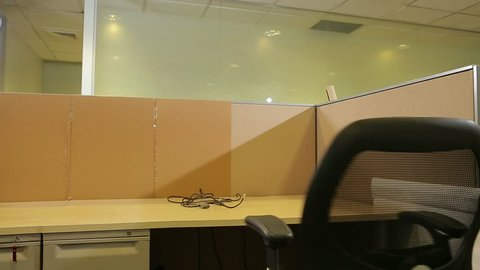 Empty office chair turns on its own. (Santiago, Chile - Mar 2016)