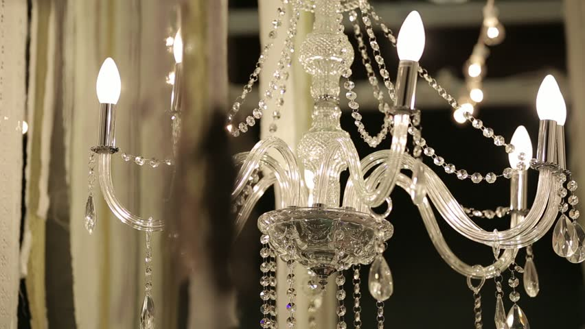 Ancient Crystal Chandelier Stock Footage Video 12733247 | Shutterstock