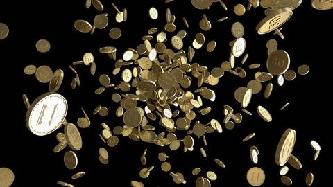 Gold coins exploding to the camera. 3D animation with alpha channel.