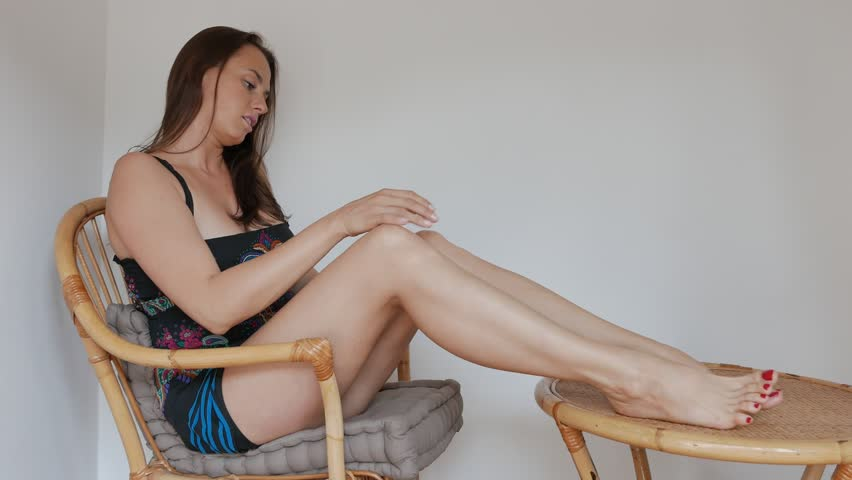 young woman in a soft  legs massage - clip 466