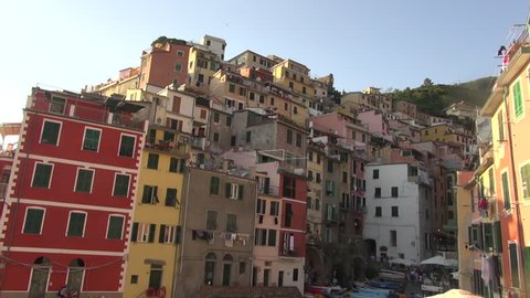 RIOMAGGIORE, ITALY, AUGUST 24, 2016: The village of Riomaggiore, one of the famous Cinque Terre.50fps, real time