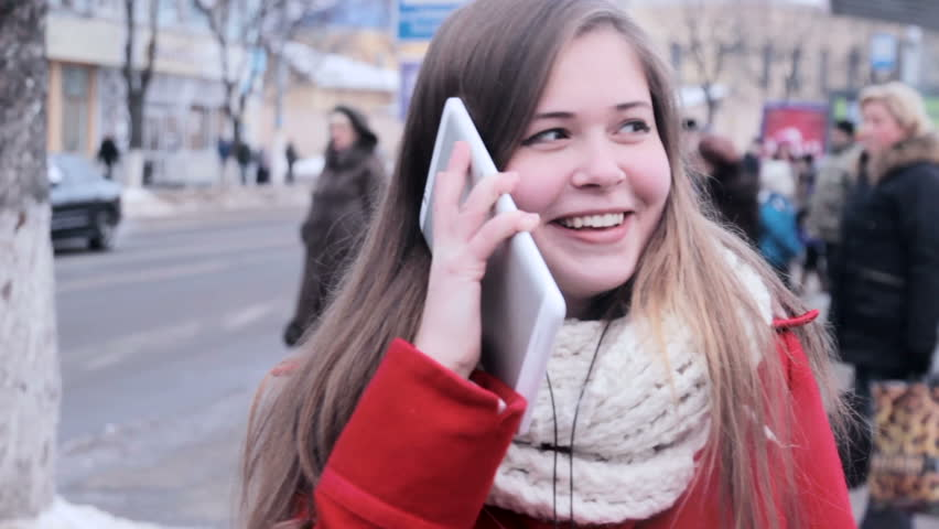 Young girl have fun by talking at tablet pc | Shutterstock HD Video #23235892