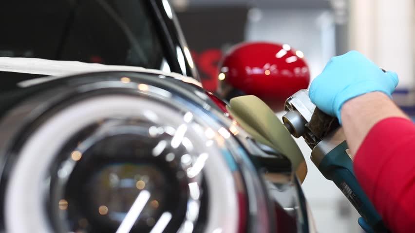 Car polishing process. Close up.