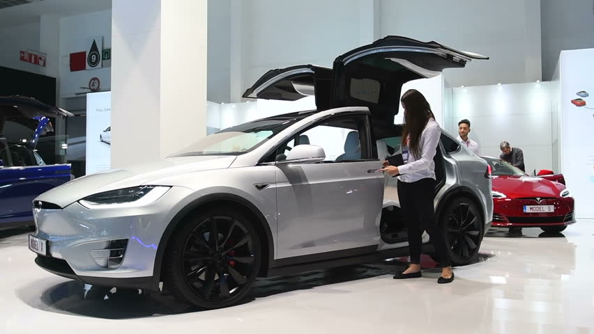 Brussels Belgium January Tesla Model X All Electric Luxury