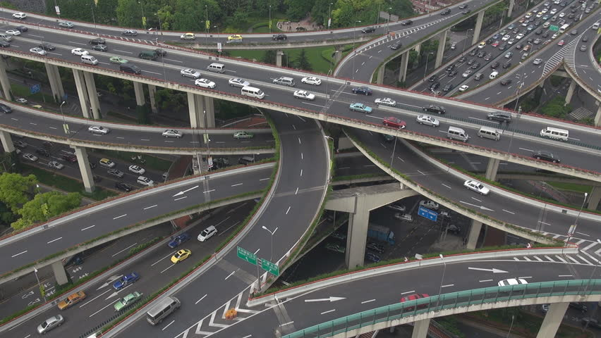 Heavy traffic on Shanghai Highway Interchange, China, Asia