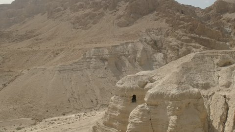 wide panning shot of cave 4Q at qumran site the dead sea scrolls in israel