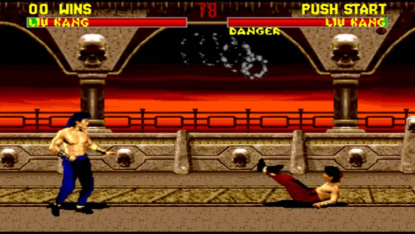 URYUPINSK. RUSSIA - JANUARY 22, 2017: Gameplay game console Sega Genesis mortal kombat 2 fatality - retro console games on January 22 2017 in Urupinsk, Russia