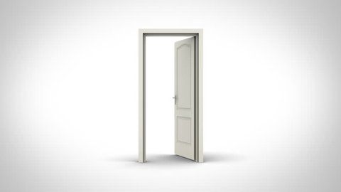 Door opening on white background.