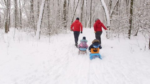 Husband and wife are pulling two sledges with their children.