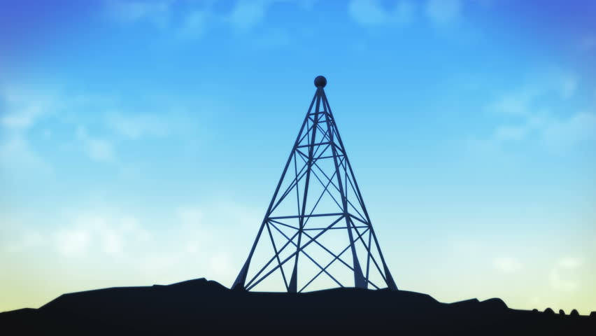 Transmitting communications radio tower (4K). Animation of radio tower sending a transmission to communicate. Transmitting radio waves through the air as signals. | Shutterstock HD Video #23349082