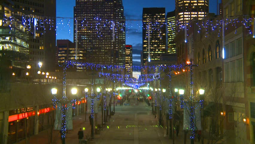 Calgary, Alberta, Canada, ca.2012, Stephen Ave mall with Christmas lights