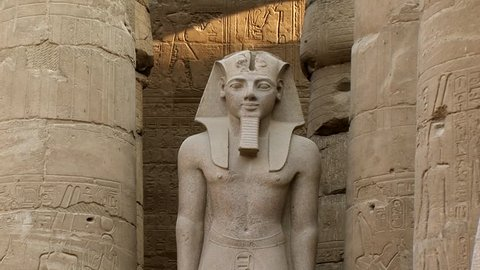 An Egyptian statue inside Luxor Temple tilt up  Thebe Egypt Nile River unesco site