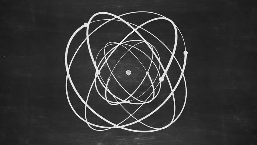 Hand drawn abstract atom rotating on the blueprint paper seamless hand drawn abstract atom rotating on the black chalkboard seamless loop more color options malvernweather Choice Image