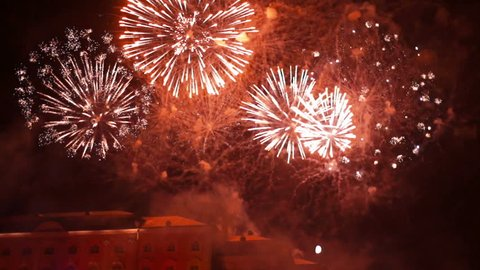 Firework After Traditional Autumn 3d Mapping Projection Show in Peterhof, St.petersburg Region