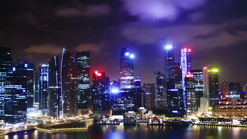Cityscape at night. Time lapse. Singapore. High quality Footage - Original Size 4k (4096x2304)