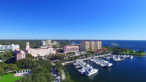 St Petersburg, FL. Aerial view of city skyline on a sunny day.