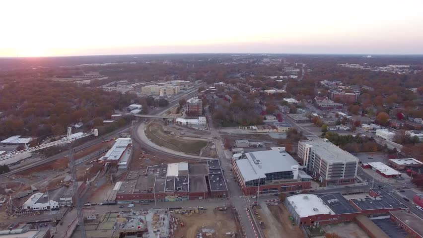 Flying above Raleigh in autumn at sunset. November of 2016. | Shutterstock HD Video #23450542