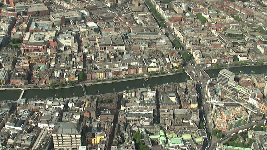 Running along River Liffey to reveal supreme court building | Shutterstock HD Video #2354597