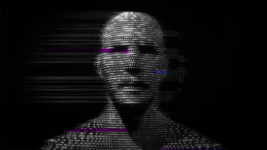 Virtual man made of digital data.