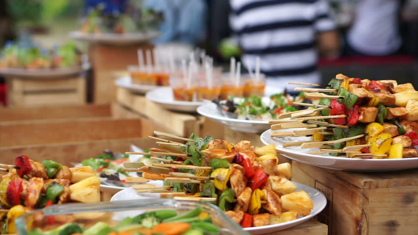 BBQ skewer and other buffet catering food set on table in event party