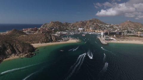 Aerial view of tropical bay, beach - Cabo San Lucas, Mexico