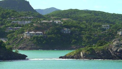 Aerial of luxury oceanfront apartments - Caribbean Island, Antigua