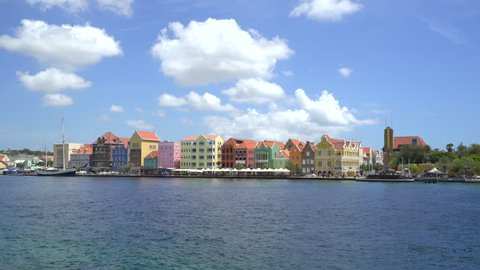 Caribbean city scape. Colorful buildings - Willemstad downtown, Curacao