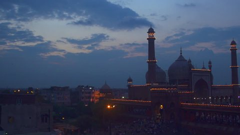 200fps slow motion shot of Jama Masjid during sunset time in New Delhi, India.