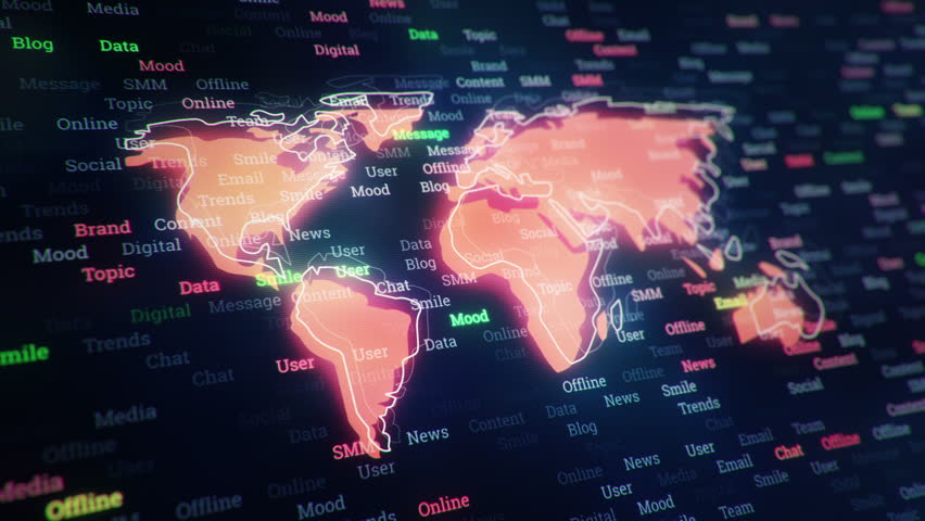 Technological background with changing words about technologies, social nets, business and money, communication and social marketing. Symbol of earth globe with glowing glass surface. Seamless loop. | Shutterstock HD Video #23604793